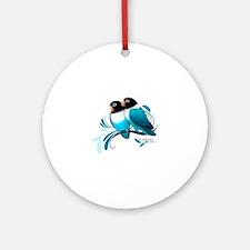 Blue Masked Lovebirds Round Ornament