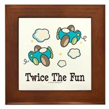 Fun Twin Boys Airplane Framed Tile