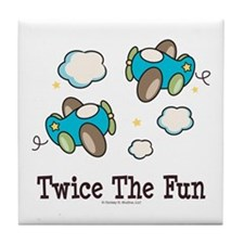 Fun Twin Boys Airplane Tile Coaster