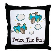 Fun Twin Boys Airplane Throw Pillow
