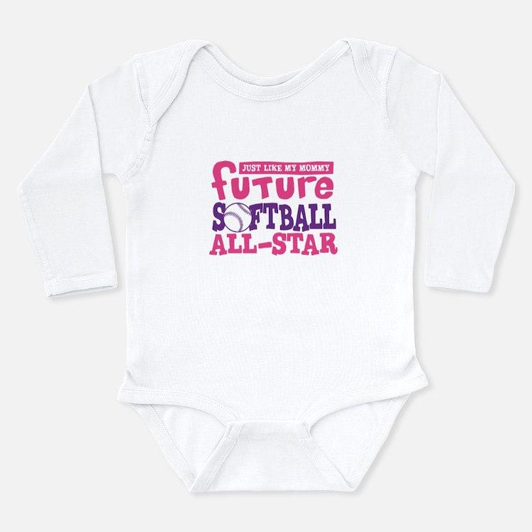 Cute Softball purple Long Sleeve Infant Bodysuit