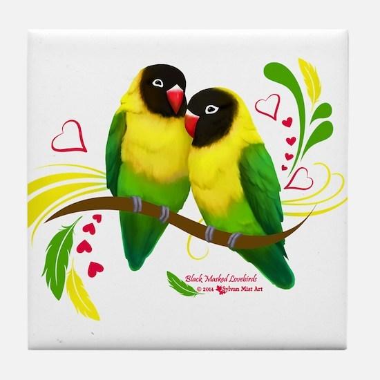 Black Masked Lovebirds Tile Coaster