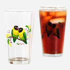 Black Masked Lovebirds Drinking Glass