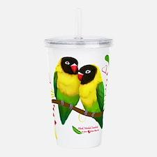 Black Masked Lovebirds Acrylic Double-wall Tumbler