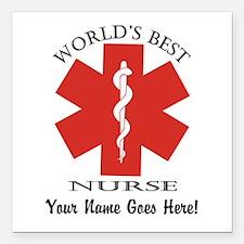 """Worlds Best Nurse Square Car Magnet 3"""" X 3&qu"""