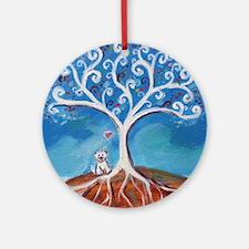 Cute Westie tree Round Ornament
