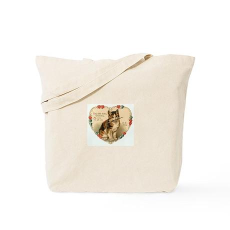 Victorian Kitten Valentine Tote Bag