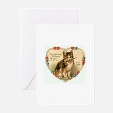 Victorian Kitten Valentine Greeting Cards (Pk of 1