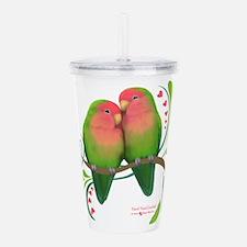 Peach Faced Lovebirds Acrylic Double-wall Tumbler