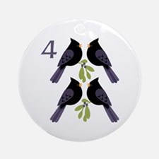 4 Calling Birds Round Ornament