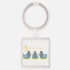 3 French Hen Keychains
