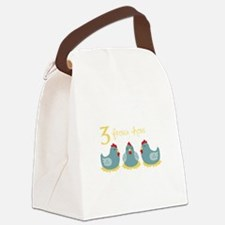 3 French Hen Canvas Lunch Bag