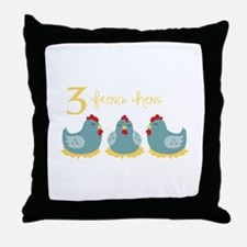 3 French Hen Throw Pillow