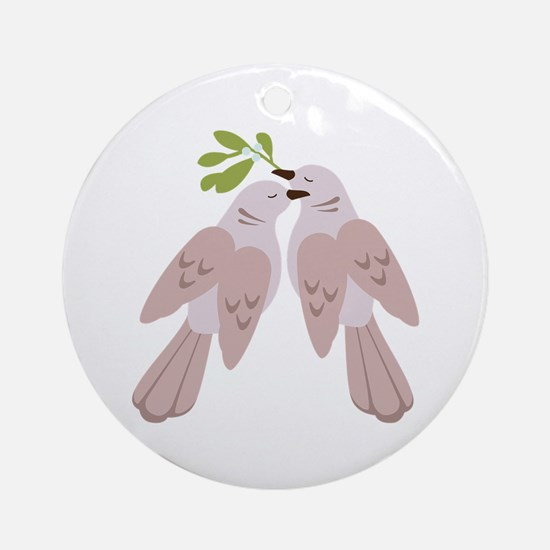 Two Turtle Doves Round Ornament