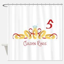 5 Golden Rings Shower Curtain