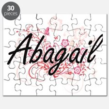 Abagail Artistic Name Design with Flowers Puzzle