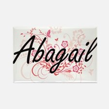 Abagail Artistic Name Design with Flowers Magnets