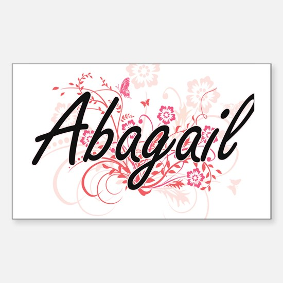 Abagail Artistic Name Design with Flowers Decal