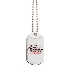 Aileen Artistic Name Design with Flowers Dog Tags