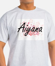 Aiyana Artistic Name Design with Flowers T-Shirt