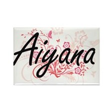 Aiyana Artistic Name Design with Flowers Magnets