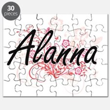 Alanna Artistic Name Design with Flowers Puzzle