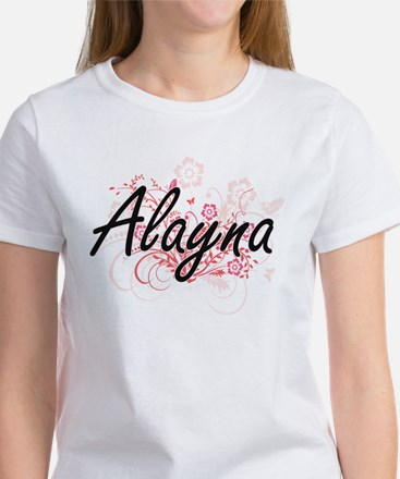 Alayna Artistic Name Design with Flowers T-Shirt