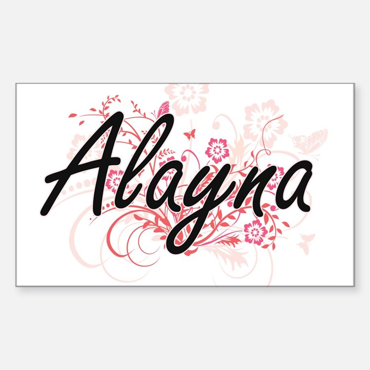 Alayna Artistic Name Design with Flowers Decal