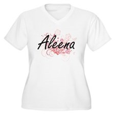 Aleena Artistic Name Design with Plus Size T-Shirt