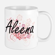 Aleena Artistic Name Design with Flowers Mugs