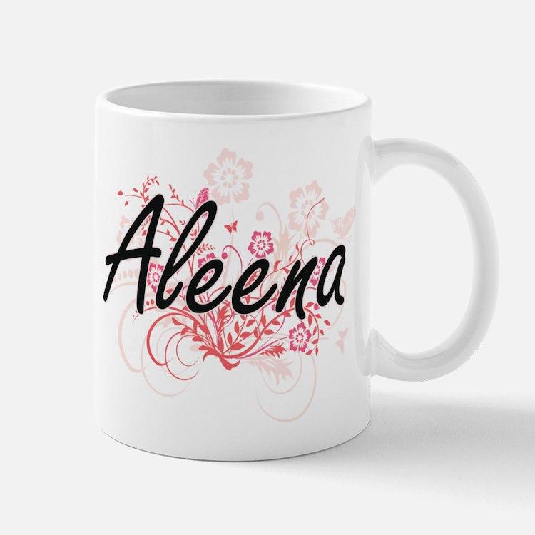 Aleena Artistic Name Design with Flowers Mugs
