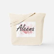 Aleena Artistic Name Design with Flowers Tote Bag