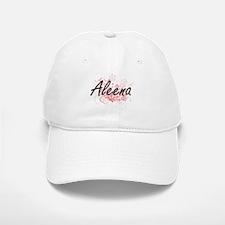 Aleena Artistic Name Design with Flowers Baseball Baseball Cap