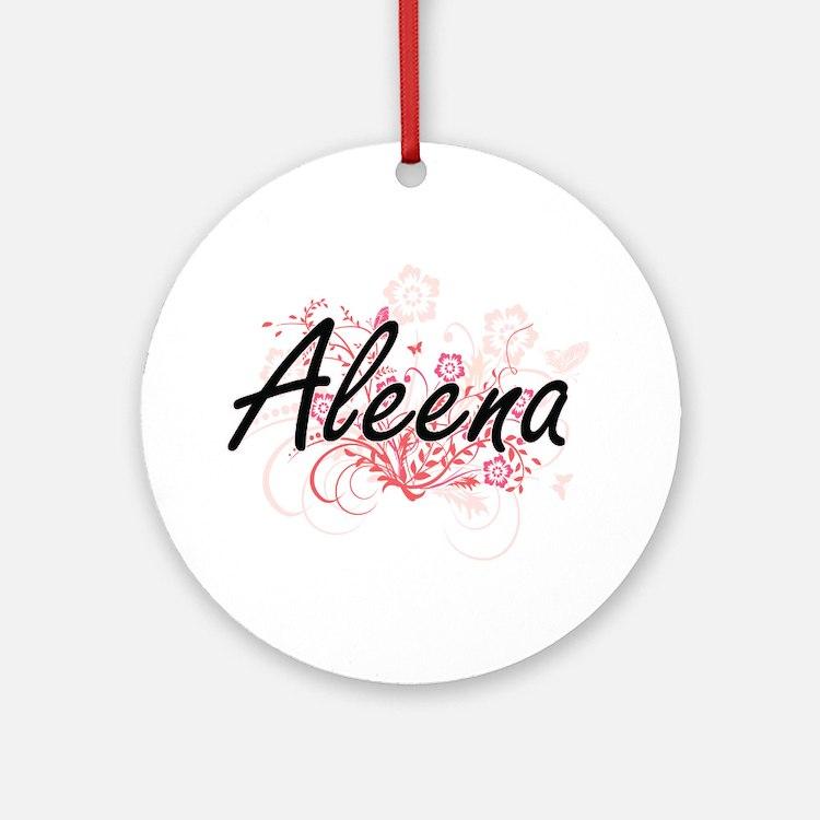 Aleena Artistic Name Design with Fl Round Ornament