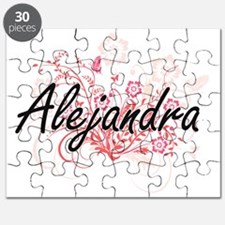 Alejandra Artistic Name Design with Flowers Puzzle