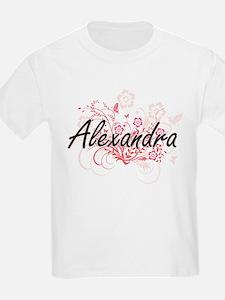 Alexandra Artistic Name Design with Flower T-Shirt
