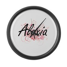 Alexia Artistic Name Design with Large Wall Clock
