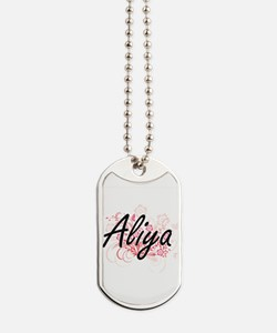 Aliya Artistic Name Design with Flowers Dog Tags