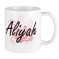Aliyah Artistic Name Design with Flowers Mugs