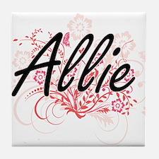 Allie Artistic Name Design with Flowe Tile Coaster