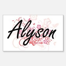 Alyson Artistic Name Design with Flowers Decal