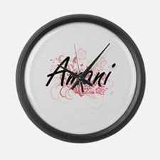 Amani Artistic Name Design with F Large Wall Clock