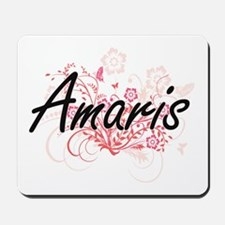 Amaris Artistic Name Design with Flowers Mousepad