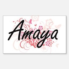 Amaya Artistic Name Design with Flowers Decal