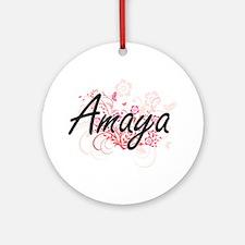 Amaya Artistic Name Design with Flo Round Ornament