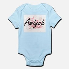Amiyah Artistic Name Design with Flowers Body Suit