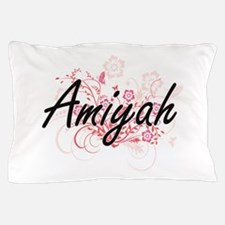Amiyah Artistic Name Design with Flowe Pillow Case