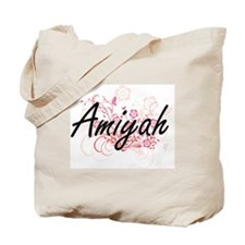 Amiyah Artistic Name Design with Flowers Tote Bag
