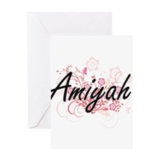 Amiyah Artistic Name Design with Fl Greeting Cards