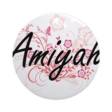 Amiyah Artistic Name Design with Fl Round Ornament